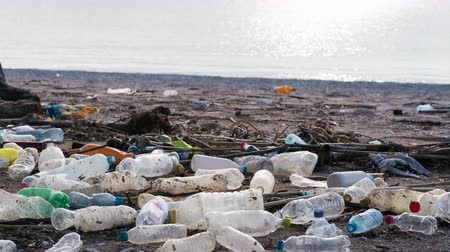 lixo : beach polluted with plastic bottles
