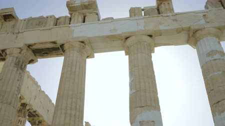 reconstructed : Pillars of Parthenon - ancient temple in Athenian Acropolis Stock Footage