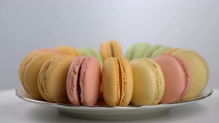 macarons : colorful French macarons, gourmet dessert Stock Footage
