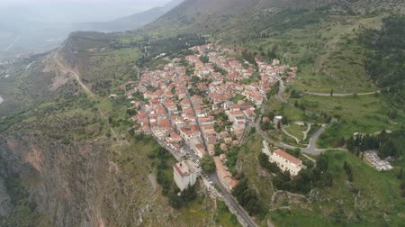 régészet : Aerial view of modern Delphi town, near archaeological site of ancient Delphi