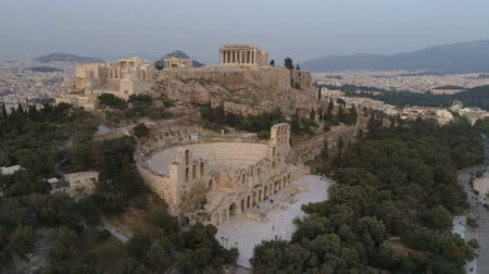 aerial athens : Aerial view of Acropolis of Athens ancient citadel in Greece