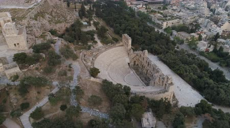 aerial athens : Aerial view of Odeon of Herodes Atticus and Acropolis of Athens ancient citadel in Greece