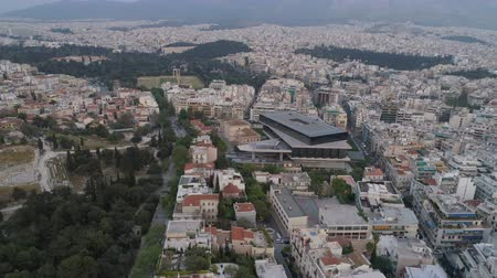 amfiteátr : Beautiful aerial cityscape of Athens with modern museum of Acropolis