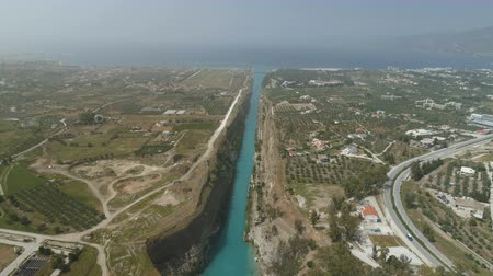 keskeny : Aerial view of famous Corinth Canal of Isthmus, Peloponnese.