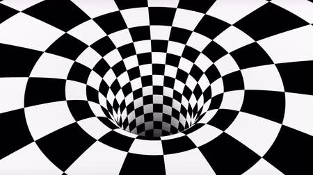 kibertérben : VJ infinite looped checkerboard tunnel Stock mozgókép