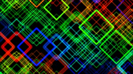 abstract animated : Animation of multicolored glowing rectangles Stock Footage