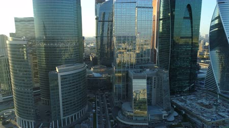megalopolis : A sunset Aerial shot of skyscrapers of Moscow International Business Centre.
