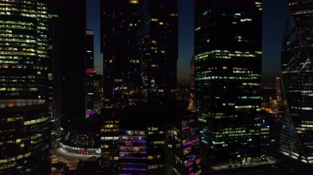 uav : A night Aerial shot of skyscrapers of Moscow International Business Centre. Stock Footage