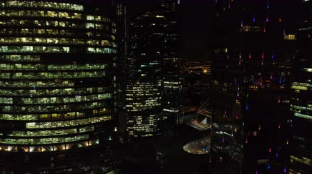 aanpak : A night Aerial shot of skyscrapers of Moscow International Business Centre. Stockvideo