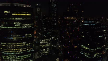 megalopolis : A night Aerial shot of skyscrapers of Moscow International Business Centre. Stock Footage