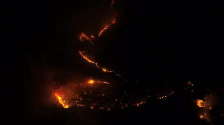 wrzos : view from the air to a burning forest at night
