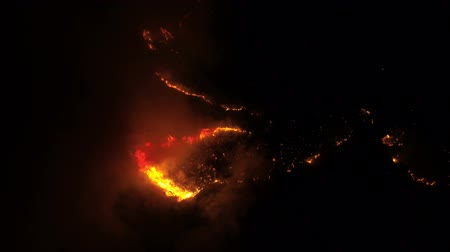 heide : view from the air to a burning forest at night