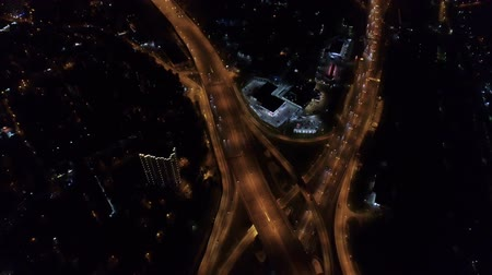 moscow panorama : aerial view of the road junction in Moscow at night