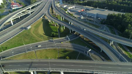 moscow panorama : aerial view of the road junction in Moscow at sunny day
