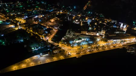 lovcen : Night time aerial view of Kotor in Montenegro