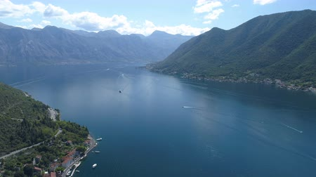 çare : aerial view of Boka Bay above old Perast, Montenegro Stok Video