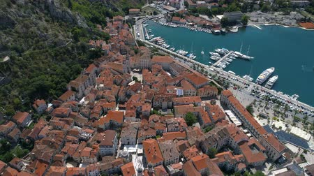 lovcen : Aerial view of old town Kotor, Montenegro Stock Footage