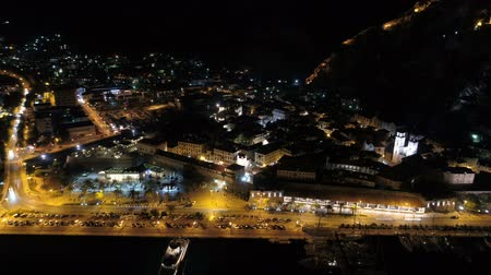 montengro : Aerial night view of old town Kotor, Montenegro