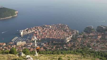 dalmata : View Of Old City Dubrovnik Cable Car Passing By Sunset