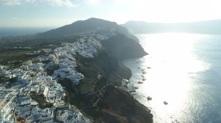 УВР : Aerial view flying over city of Oia on Santorini Greece