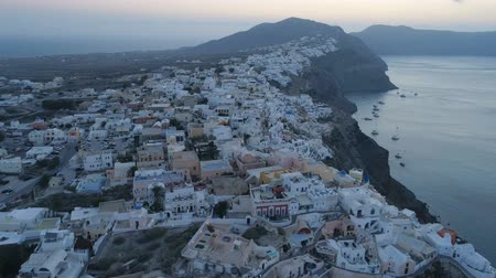 aegean sea : Aerial view flying over city of Oia on Santorini Greece