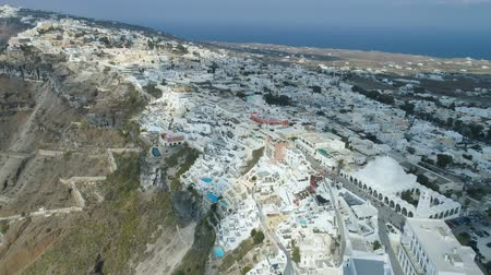 Эгейский : Aerial view of famous Greek resort Thira. Стоковые видеозаписи