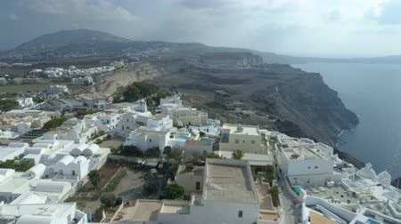 aegean sea : Aerial view of famous Greek resort Thira. Stock Footage