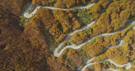 enrolamento : autumn mountain road view from above