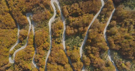 мостовая : autumn mountain road view from above