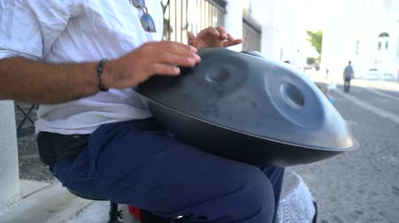 acoustical : Street Artist Performing On The Street With Handpan. Stock Footage