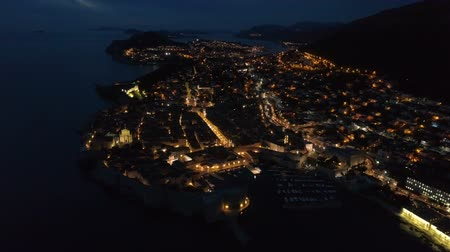 dalmácia : view of the old Dubrovnik from the air at dusk.