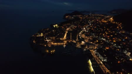 크로아티아 : view of the old Dubrovnik from the air at dusk.