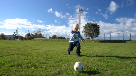 tekmeleme : three year old child runs with the ball on the football field Stok Video