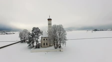 snowcapped : Aerial view of St. Coloman Church in Southern Germany