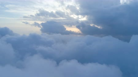 high rises : aerial view above the clouds Stock Footage