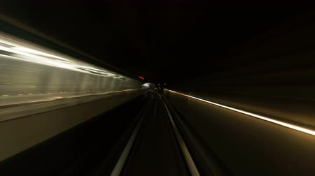 driverless : Speedy time lapse view from train cabin in tunnel