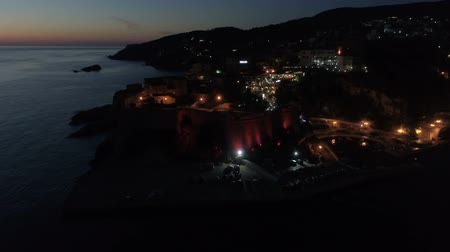 transparente : Aerial night view of the old city of Ulcinj Stock Footage