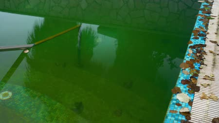 residencial : Dirty water in outdoor pool Stock Footage