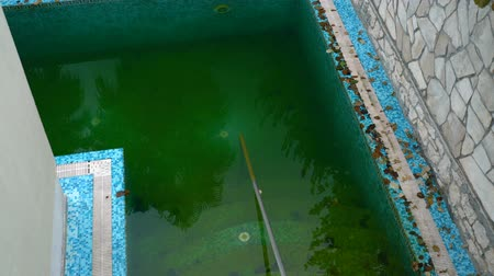 gerek : Dirty water in outdoor pool Stok Video