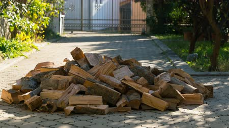 vybírání : firewood appear one by one and formed a large pile in the yard