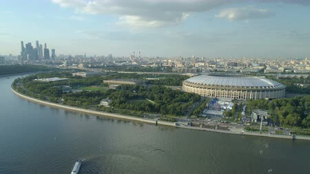 futball labda : aerial view of moscow river cityscape and stadium Stock mozgókép