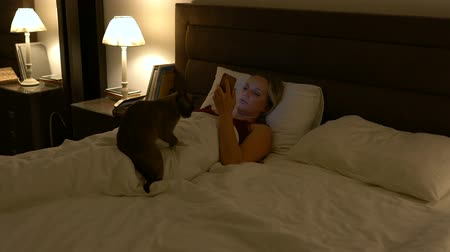 тянущий : young woman lies in bed in the company of a cat and uses a smartphone Стоковые видеозаписи