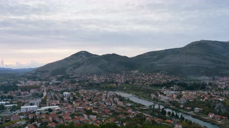 noc : time lapse of Trebinje city, Republika Srpska in Bosnia and Herzegovina Wideo