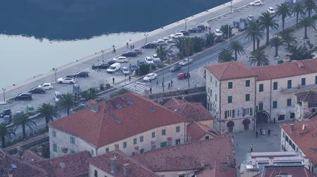 montengro : Aerial view of old town Kotor, Montenegro Stock Footage