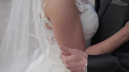 acariciando : Groom slowly touching brides arm. Close up. Outdoors shot. Vídeos