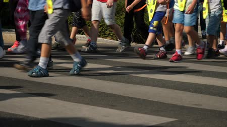 cuidadoso : Kids walking crosswalk summer time