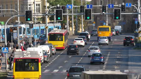 запрещено : Wroclaw Poland 19.10.2018 Legnicka street Busy city crosswalk cars and city transportation