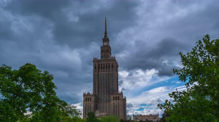 warszawa : European City Timelapse with clouds and blue sky before rain