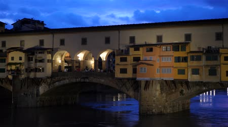 arch bridges : Scenic view of Historic Bridge Ponte Vecchio in Florence Italy at night time