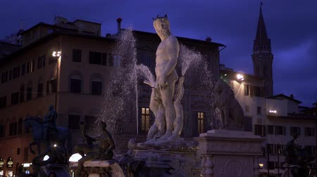 vecchio : The Fountain of Neptune is a fountain in Florence, Italy Palazzo Vecchio slow motion Stock Footage